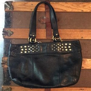 Coach Black Leather Bag with Gold Studs
